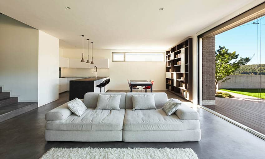 Modern living room with grind seal polished concrete floors