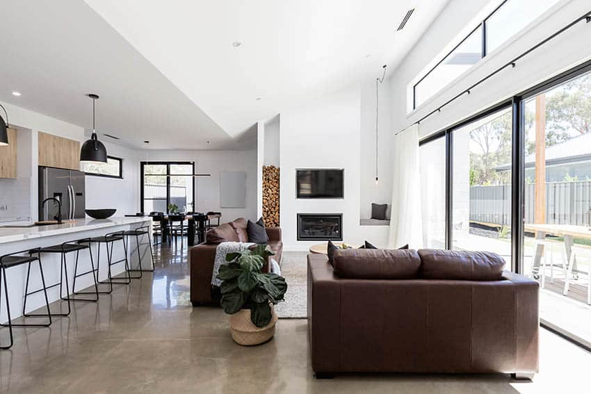 Modern living room with polished concrete floors