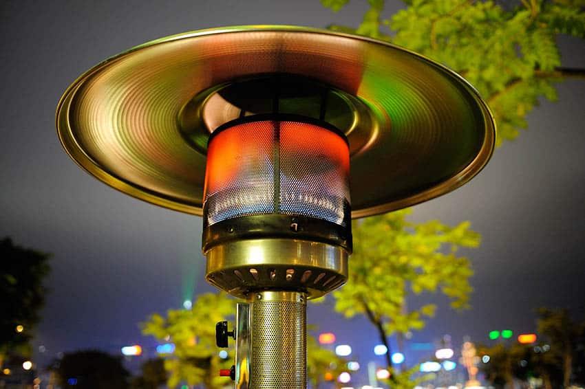 Outdoor propane heater at night