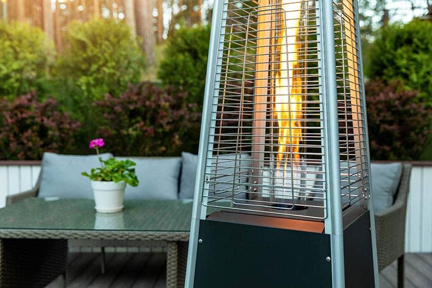 Outdoor pyramid gas heater on patio