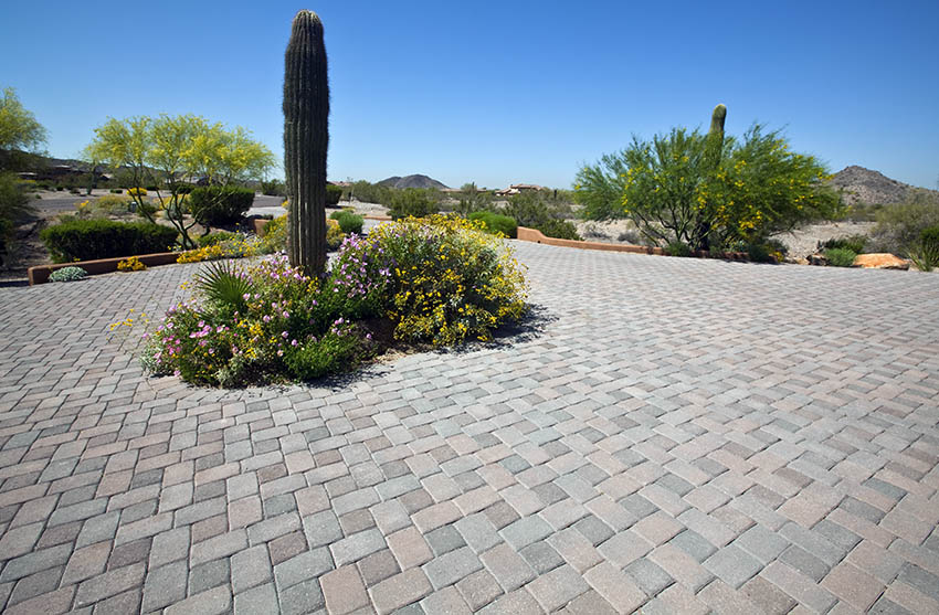 Paver patio with desert landscaping