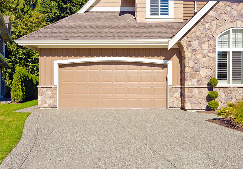 Pebble concrete finish driveway