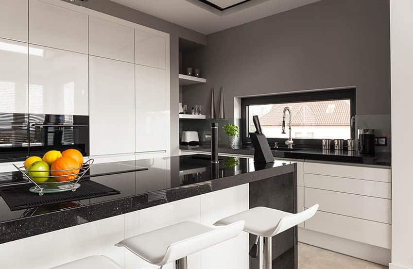 Polished black galaxy granite kitchen countertops
