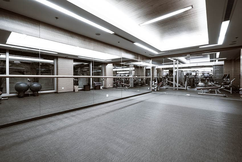 Rubber tile flooring in workout room