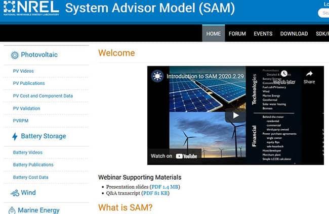 Sam photovoltaic software