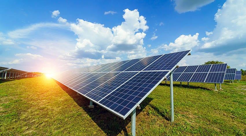 Solar panels on land