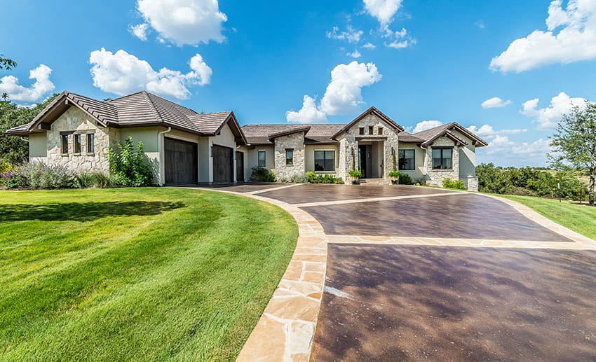 Stained concrete driveway design home