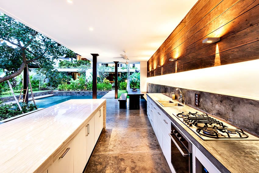 Stained concrete patio with outdoor kitchen