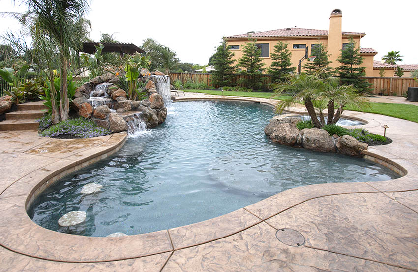 Stamped concrete swimming pool