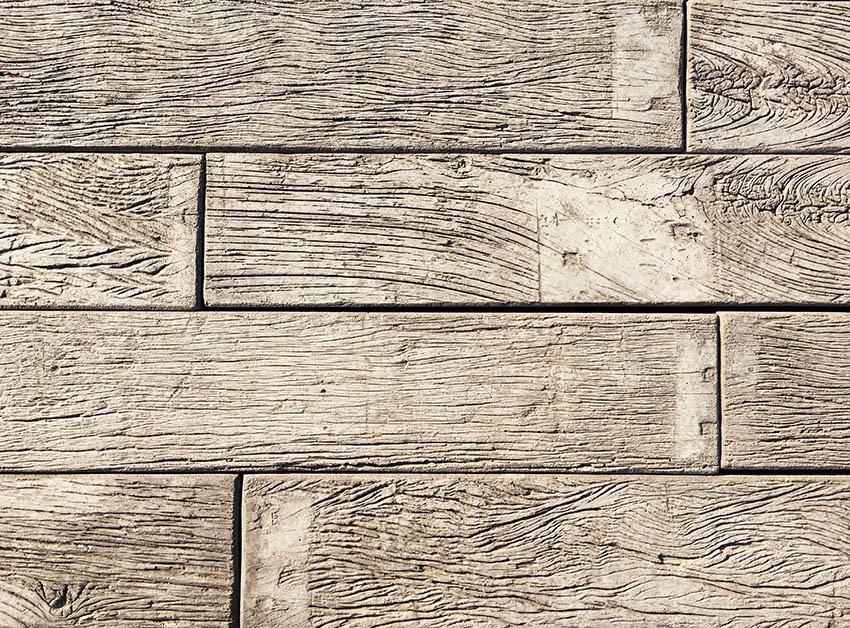 Stamped concrete wood planks design