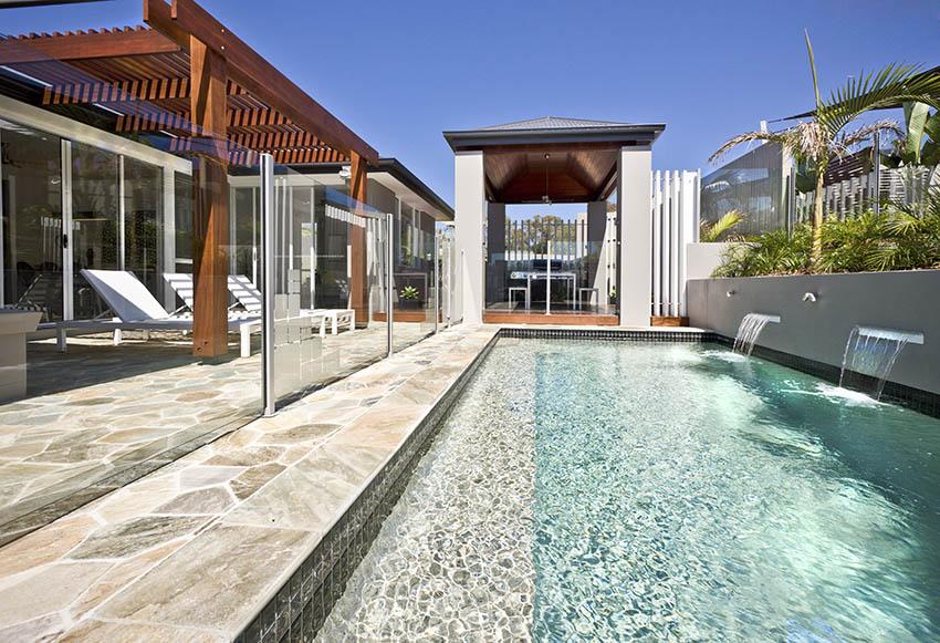 Stone tile swimming pool