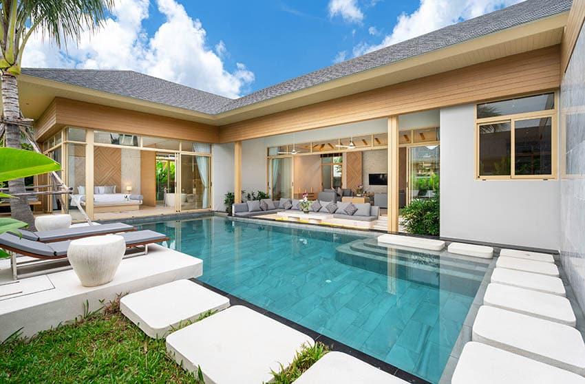 Swimming pool with lagoon tile finish