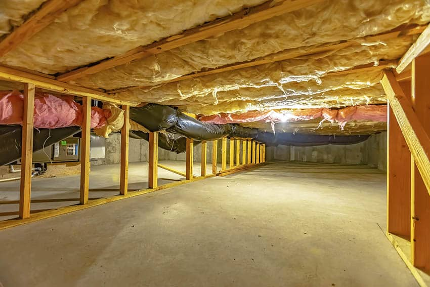 Unfinished basement ceiling insulation installation
