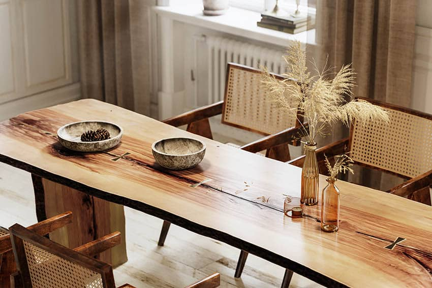 Acacia wood dining table with live edge wood table top