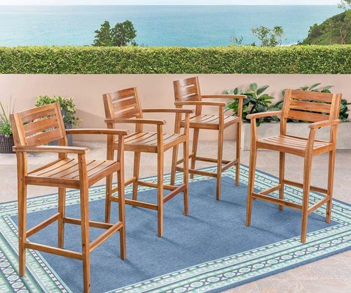 Acacia wood outdoor bar stools set