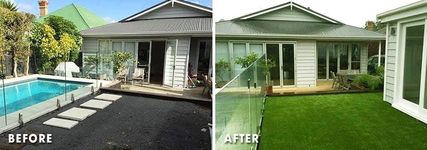 Artificial grass patio before and after