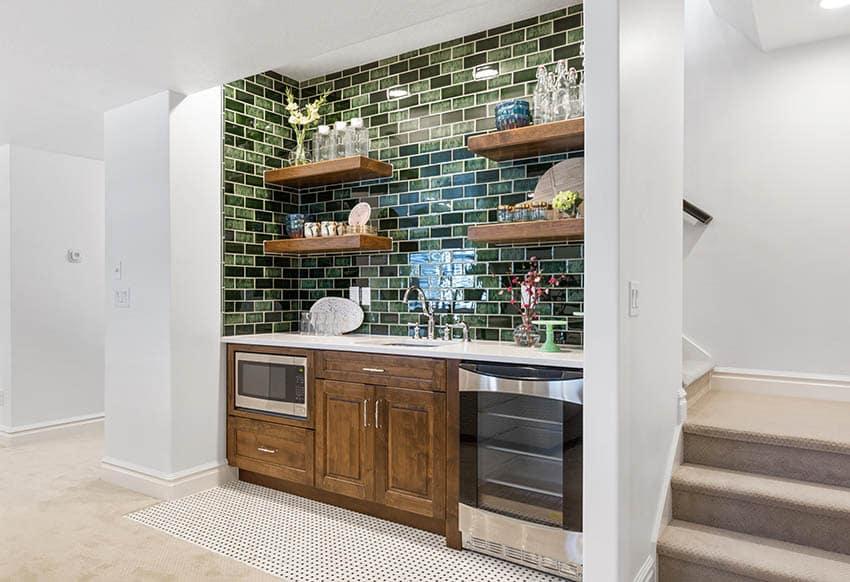 Basement home bar with appliances