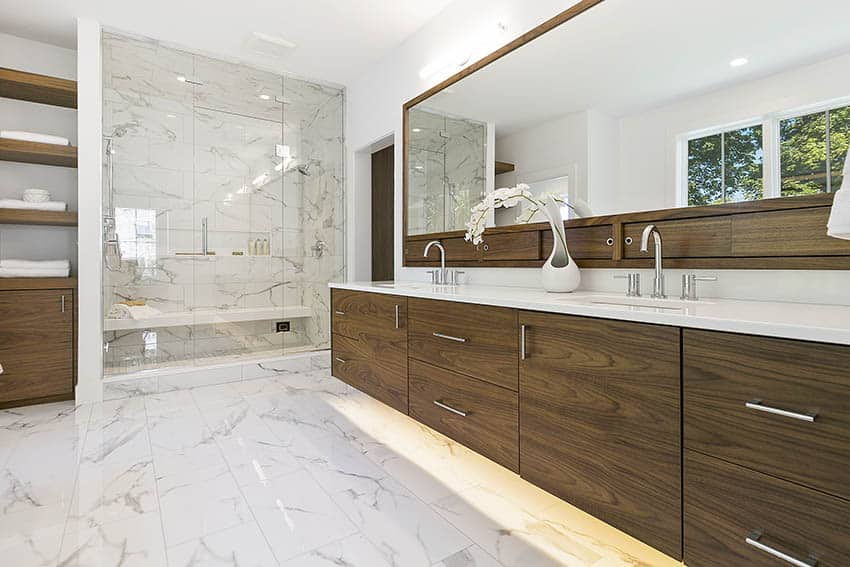 Bathroom calacatta quartz tile walk in shower