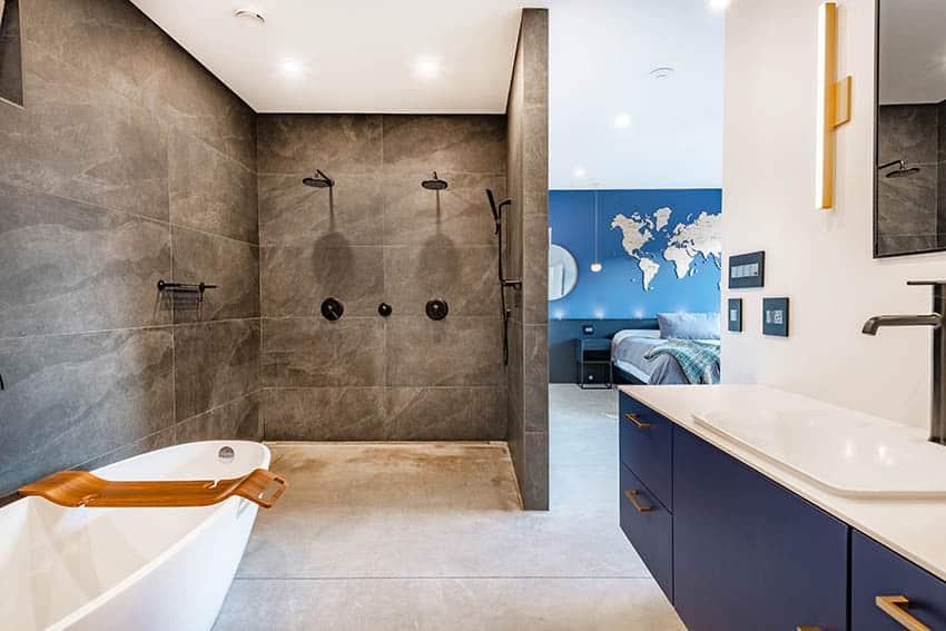Bathroom wet room with glazed porcelain tile shower double shower heads