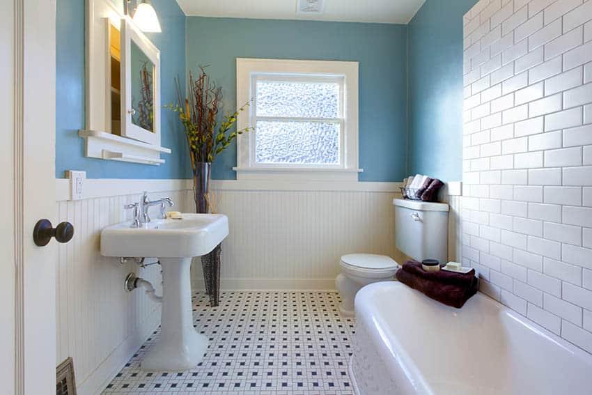 Bathroom with beadboard wainscoting