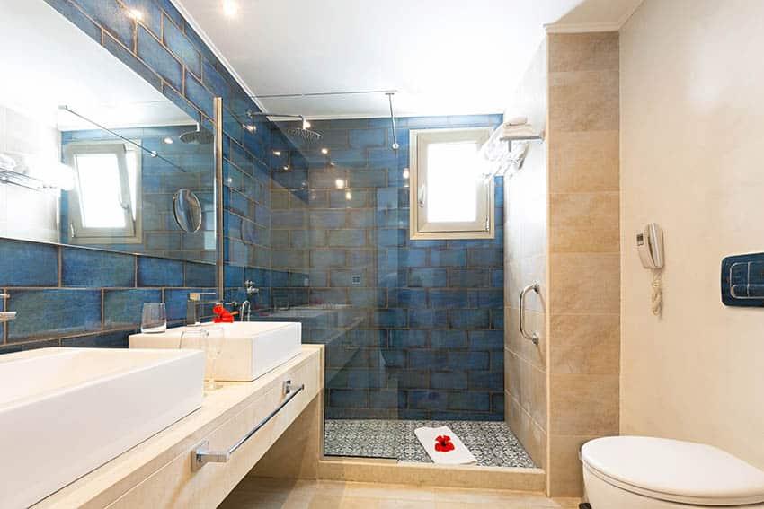 Bathroom with blue linoleum tile wall shower