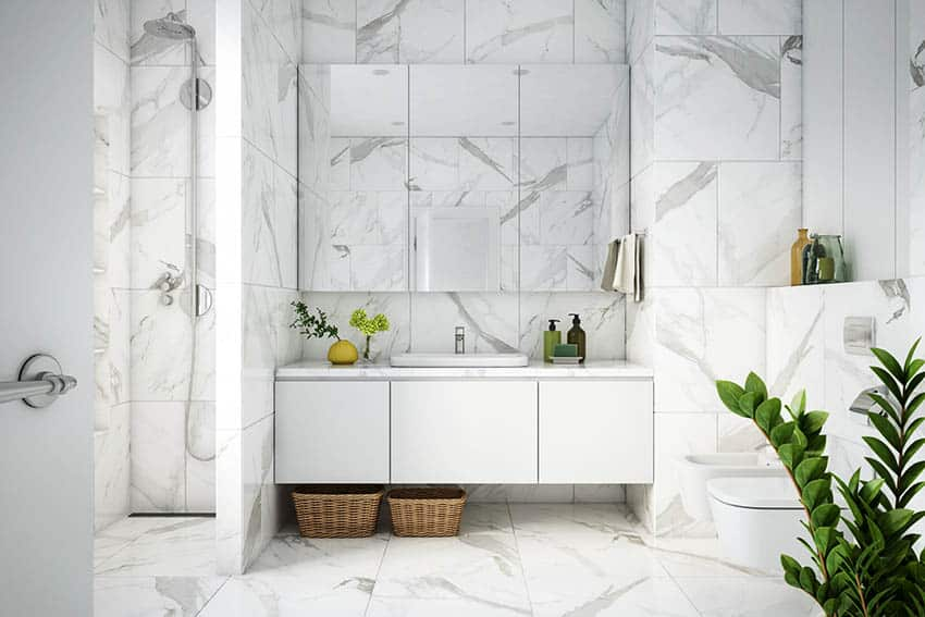 Bathroom with marble tile walk in shower