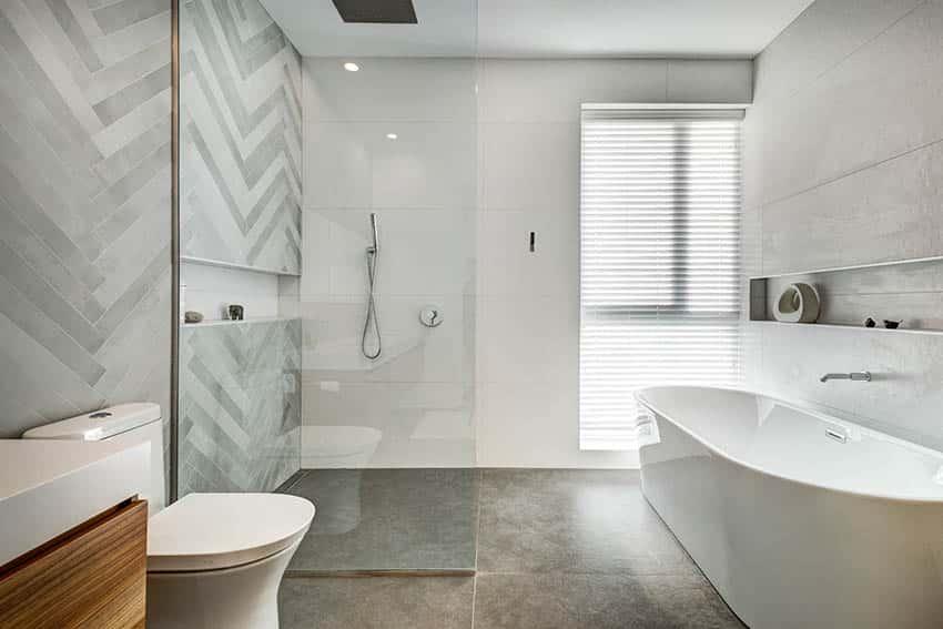 Bathroom with matte porcelain tile shower freestanding tub