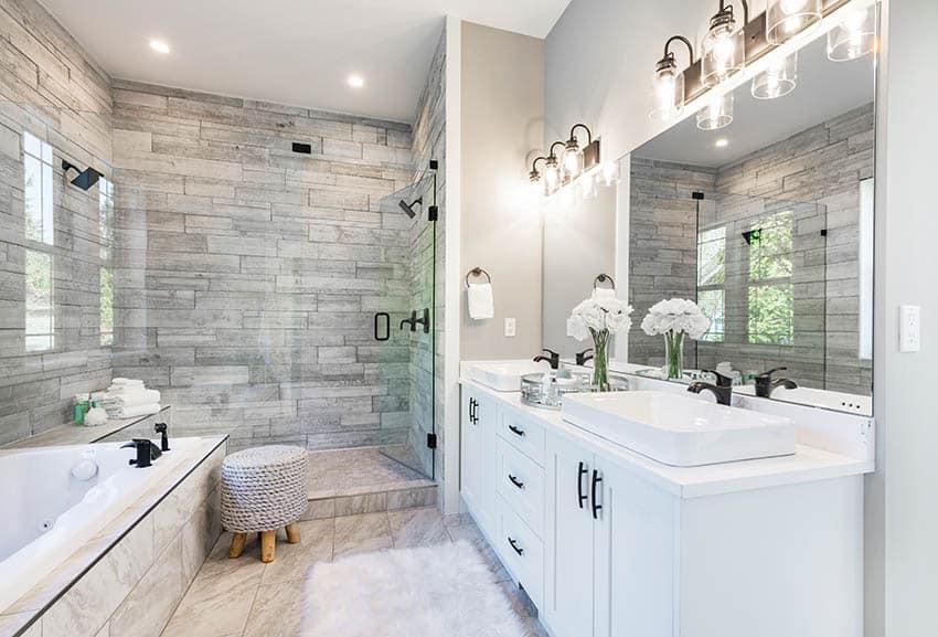 Bathroom with wood look porcelain tile shower