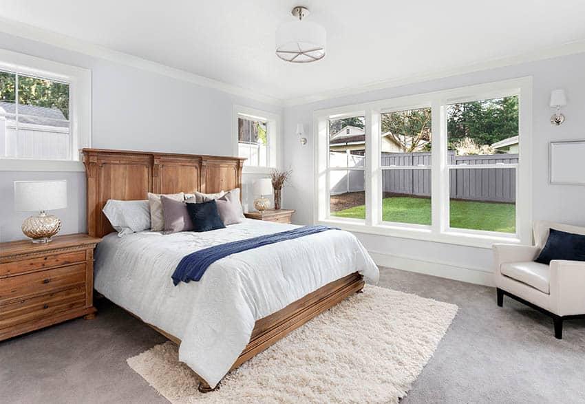 Bedroom with mango wood bed dresser set