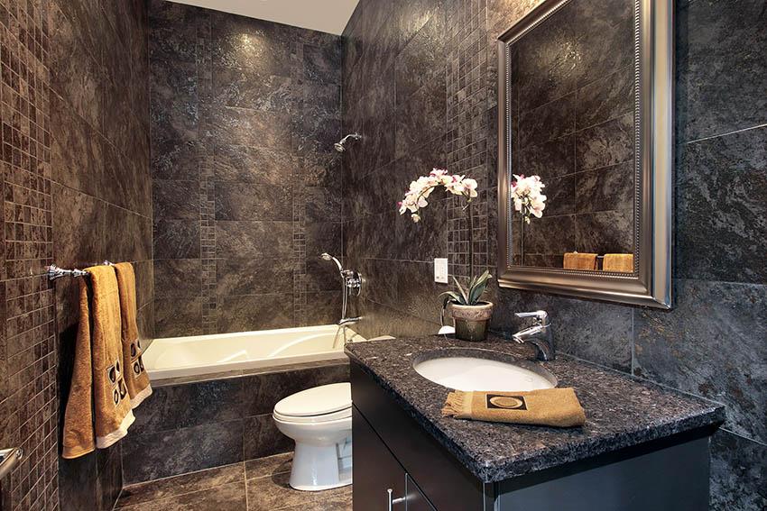 Black granite tile shower bathroom
