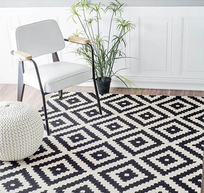 Contemporary black white wool area rug
