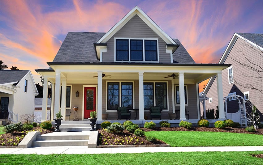 Craftsman house design with window tinting
