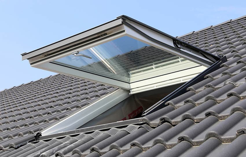 Deck mounted skylight on roof