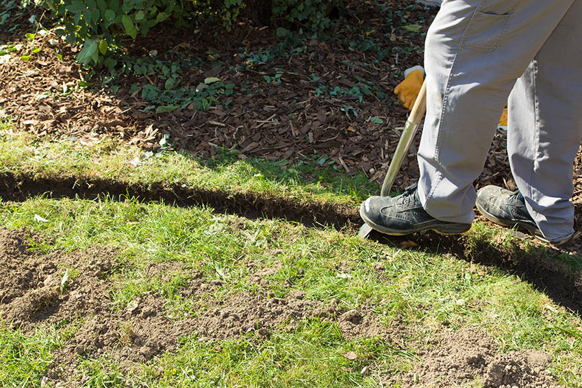 Digging trench for garden edging