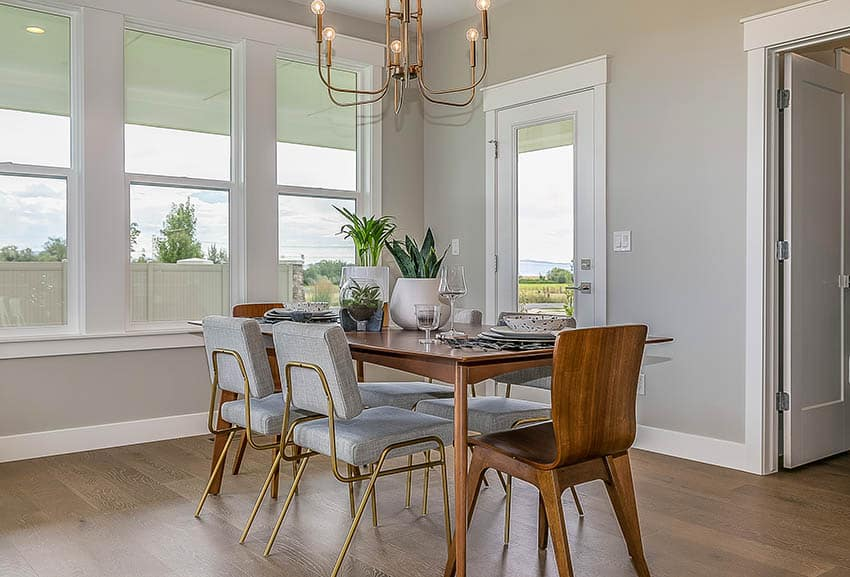 Dining room with mango wood table chairs