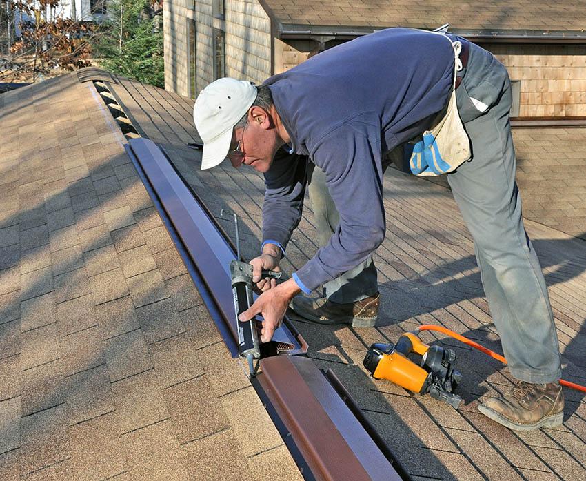 Installing roof ridge vent