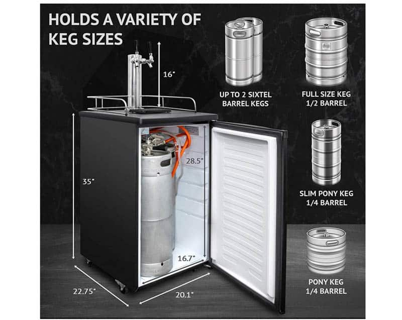 Kegerator with dual taps
