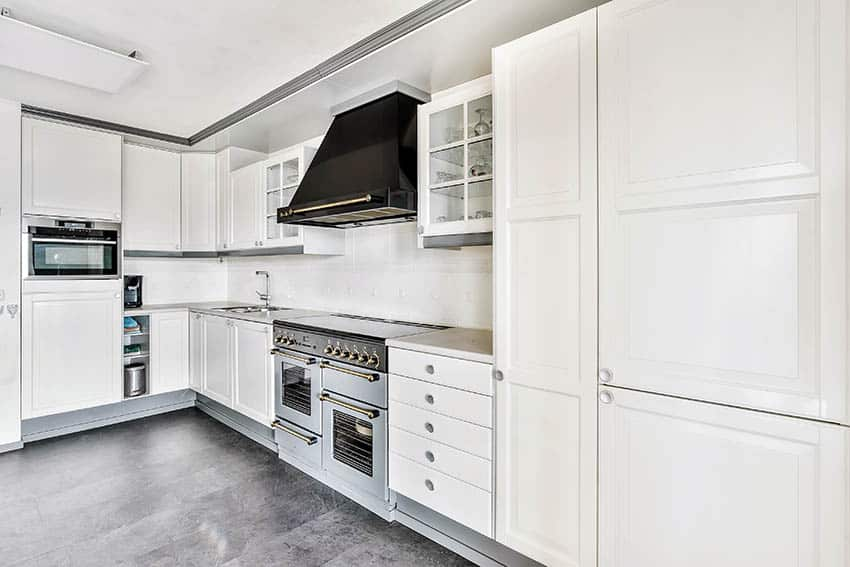 Kitchen with diy painted white lacquer cabinets