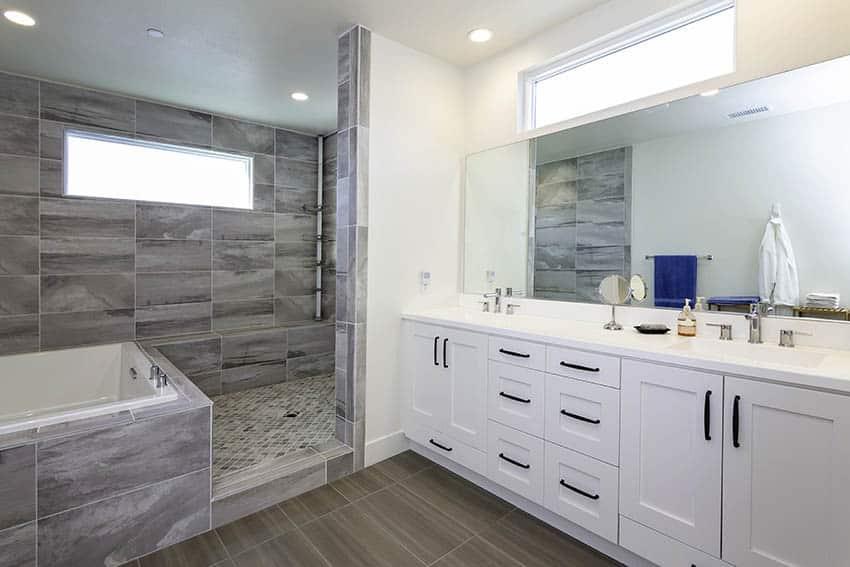 Large porcelain tile shower with built in tub no doors