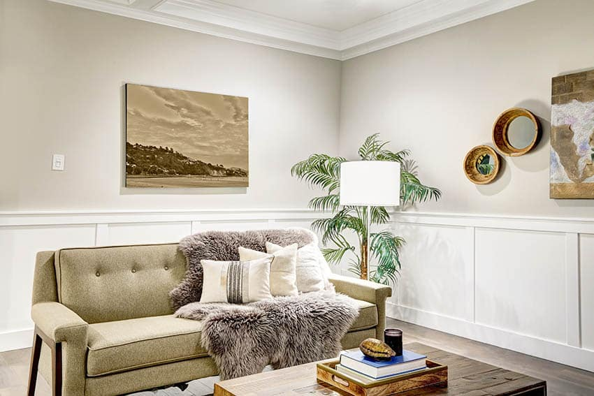 Living room with white wainscoting wall molding