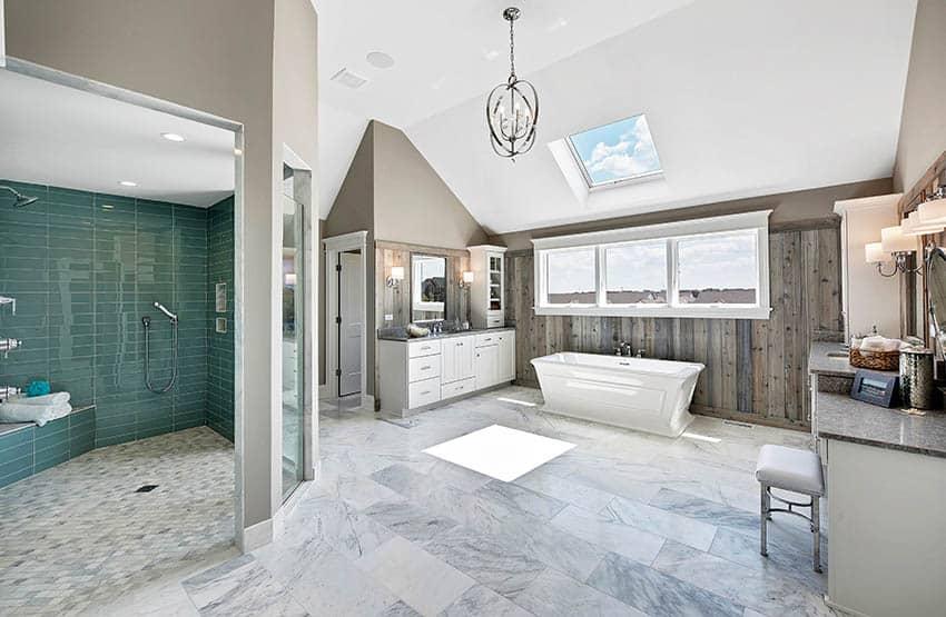 Luxury bathroom with green glass tile shower marble tile floor