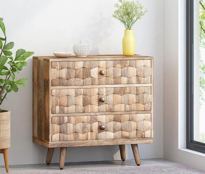 Mango wood 3 drawer chest mid century modern design