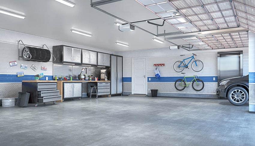 Minimalist garage organization with wall mounted cabinets