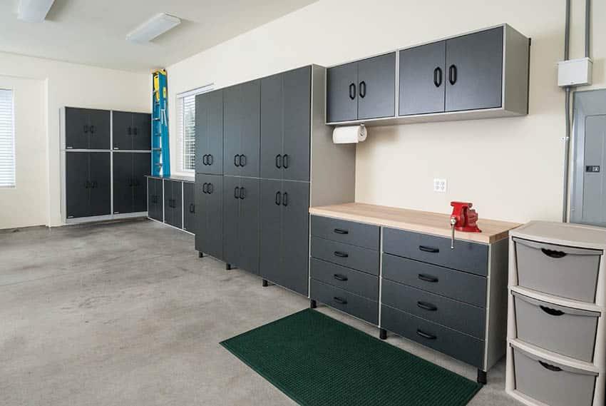 Minimalist garage storage design with clean layout