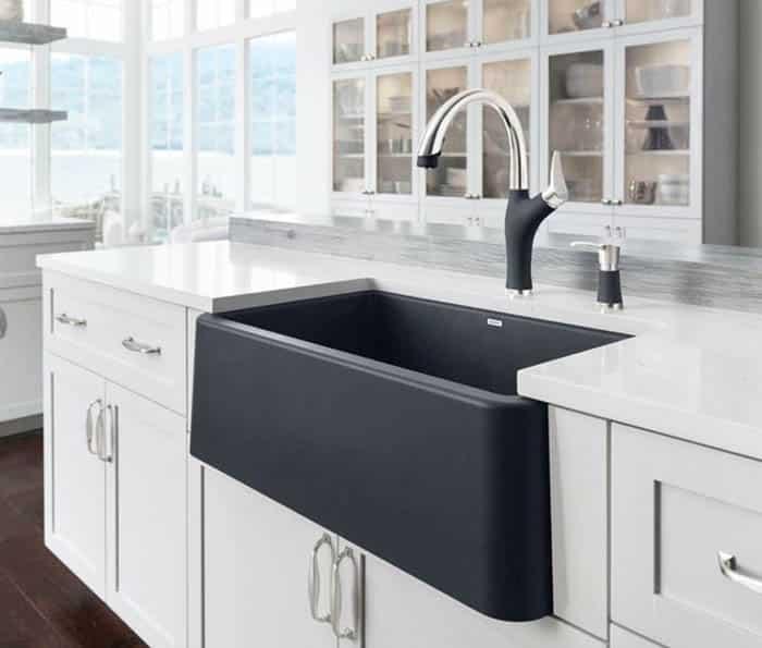 Modern blanco silgranit farmhouse sink in black