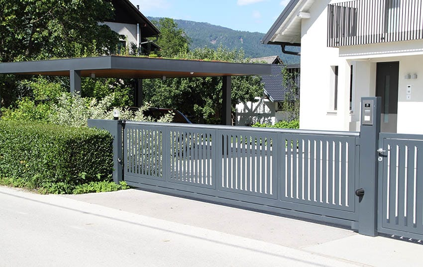 modern-gray-metal-sliding-gate-with-vertical-slats