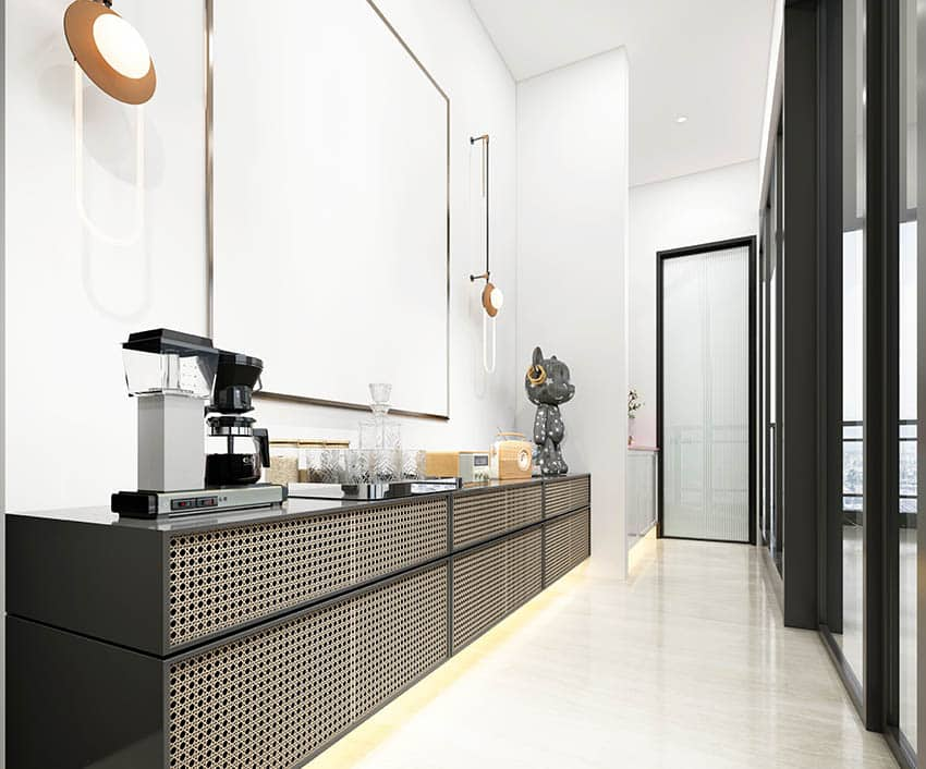Modern home bar with coffee maker under cabinet lighting