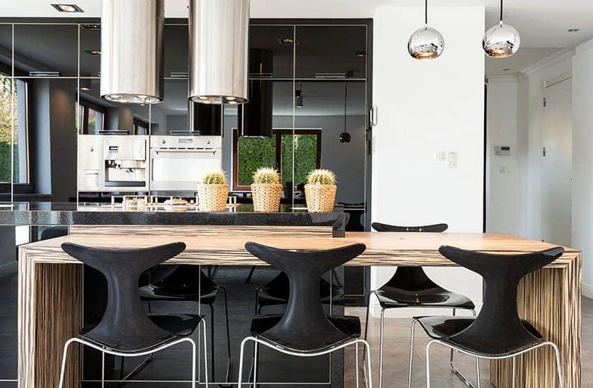 Modern kitchen black high gloss lacquer cabinets wood grain island chrome lighting