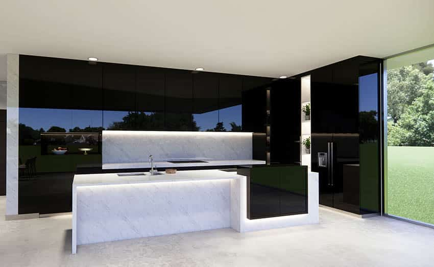 Modern kitchen black lacquer cabinets white quartz island with under cabinet lights
