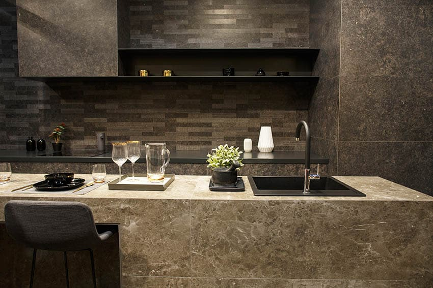 Modern kitchen with black synthetic granite Silgranit sink